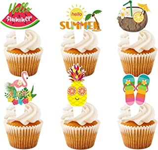 12Pcs Hawaii Cupcake Topper, Hello Summer Party Decorations, Tropical Summer Party Supplies, Double-sided Aloha Flamingo P...