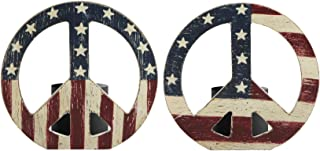 OBI Americana Peace Sign Candle Holder Set of 2 - Holds Votive or tealight Candles - Wooden Patriotic Flag Home Decor Gift
