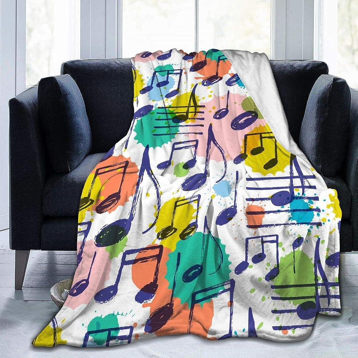 うまくやる()揃える風が強い音符 音楽 水彩 毛布 掛け毛布 ブランケット シングル 暖かい柔らかい ふわふわ フランネル 毛布 三つのサイズ