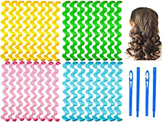 32 Pieces Hair Curlers Styling Kit,No Heat Hair Curls Hair Curlers Magic Hair Rollers Heatless Wave Styles with 2 Pieces S...