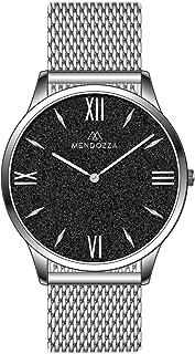 MENDOZZA Montre pour homme en acier inoxydable Sable noir 39 mm