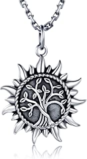 925 Sterling Silver Urn Necklace for Ashes Sunshine Cremation Keepsake Pendant Family Tree of Life Ashes Necklace Jewelry Locket Memorial Gifts for Men Women