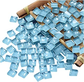100 Pieces Mosaic Tiles Squares Light Blue Crystal Mosaic Stained Glass Kits for Adults Crafts Supplies DIY Picture Frames...