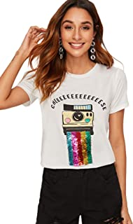 Milumia Women's Letter Print T-Shirt Sequin Embellished Short Sleeve Tee Tops White