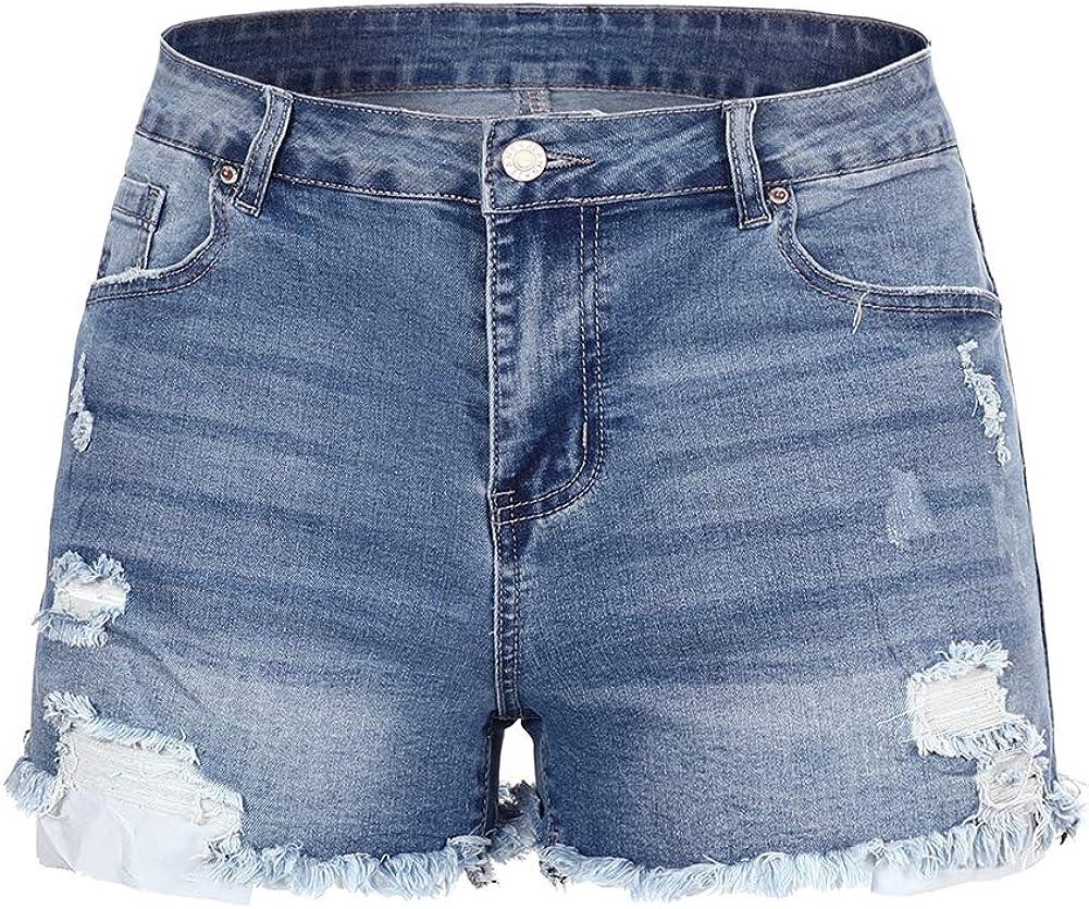 THUNDER STAR Women Mid Rise Ripped Stretchy Jeans Shorts Frayed Raw Hem Casual Denim Shorts