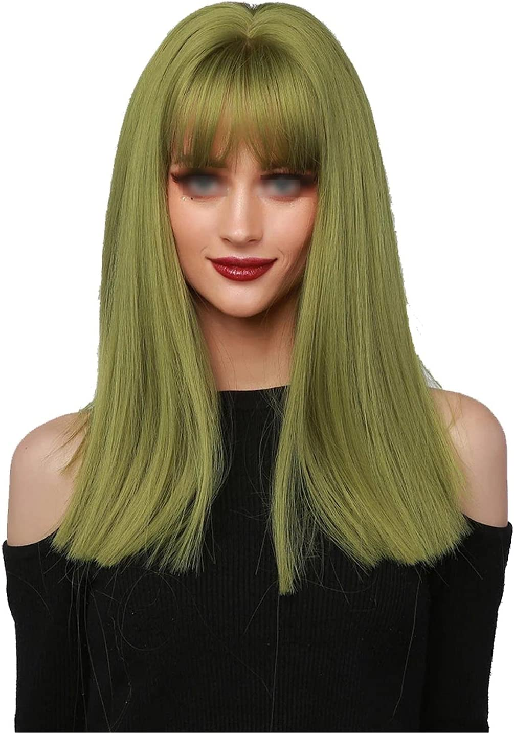 DHCZZRS774 Wigs 16inch Synthetic quality assurance Wig Long Medium Green Light Hai Very popular