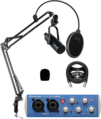 2021 MXL online sale BCD-1 Dynamic Podcast Microphone Bundle with PreSonus AudioBox USB 96 2x2 USB Audio Interface for Windows wholesale and Mac, Blucoil Boom Arm Plus Pop Filter, and 10-FT Balanced XLR Cable sale