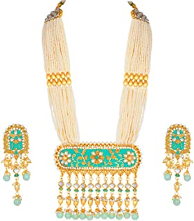 Traditional Gold Plated Kundan Pearl Multi Layered Mint Meena Work Long Necklace & Earrings Set for Women (ML181Min)