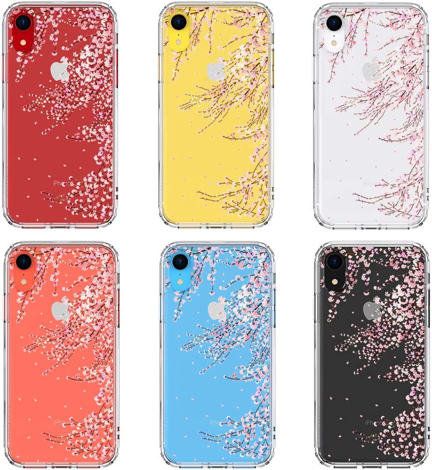 MOSNOVO Compatible for iPhone XR Case, Clear Cherry Blossom Flower Floral Pattern Print Design Girl Women with Transparent TPU Bumper Protective Hard Back Case Cover for iPhone XR