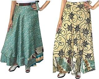 Maple Clothing Wholesale 2 Pcs Lot Two Layers Women's Indian Sari Magic Wrap Around Long Skirt