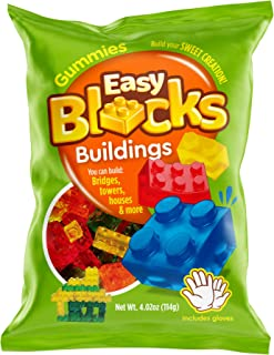 Gummy Blocks Candy (1 Pack Building Styles) Includes Gloves by Easy Blocks I Gummies Soft & Chewy I Play & Eat I I More Play Value Than Gummy Bears or Gummi Worms I Block-Build-1