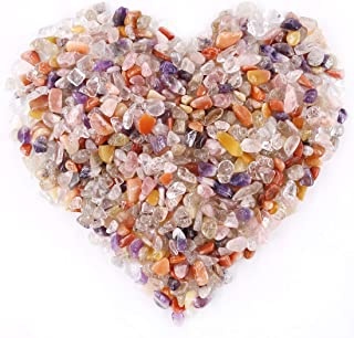Hilitchi Quartz Tumbled Chips Stone Crushed Crystal Natural Rocks Healing Home Indoor Decorative Gravel Feng Shui Healing Stones (About 1lb(450g)/Bag) (7-9mm(0.2
