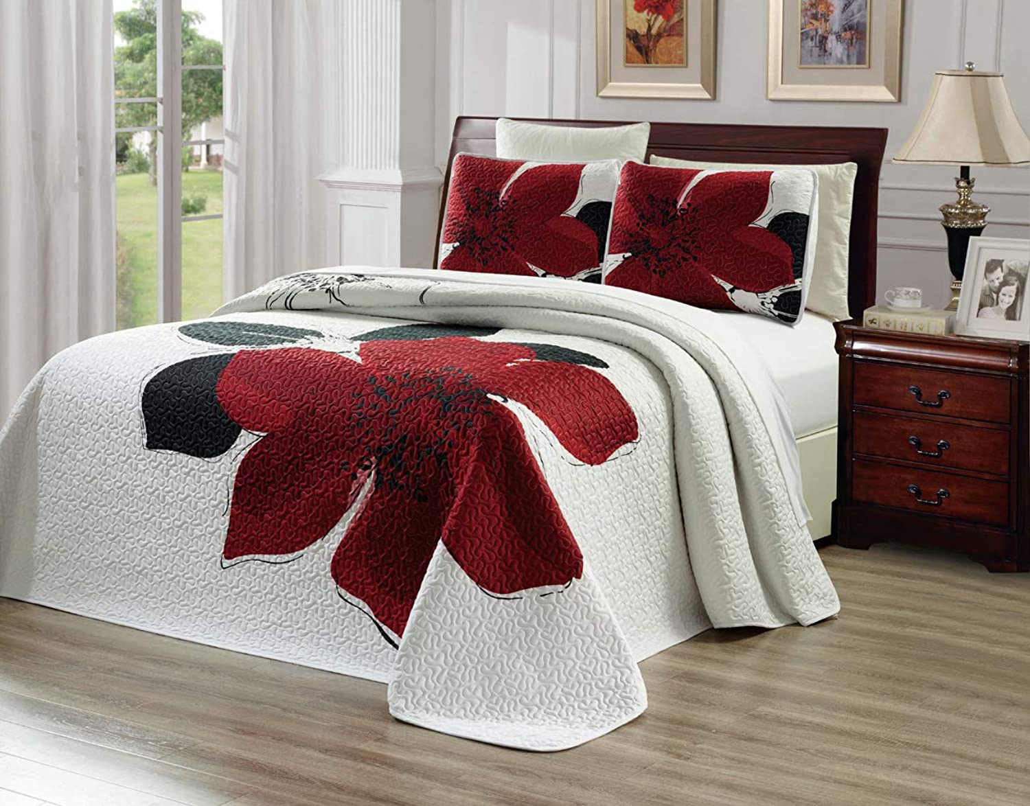 GrandLinen 2-Piece Fine Printed 66  X 95  Quilt Set Reversible Bedspread Coverlet Twin Twin XL Size Bed Cover (Burgundy Red, Black, White, Floral)