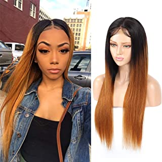 "Ombre Lace Closure Wigs 4x4 Lace Front Wig Straight Human Hair Wigs with Baby Hair Pre Plucked 250% Density Glueless Brazilian Remy Hair Lace Wigs (250% density 16"", 1b/30)"