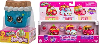 Spaghetti Pizza & Tomato Tasty Moto Italiano Collection Cutie Cars Takeout 3 Pack Bundled with Cheeky Chocolate Squeezkins Soft Character Figure 2 Items