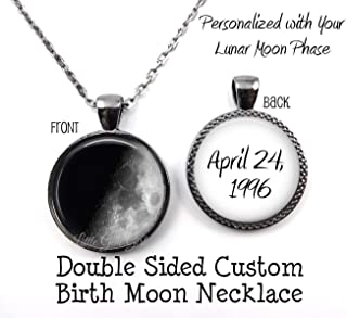 Double Sided Your Custom Birth Moon Necklace or Key Chain Birthday Pendant in 4 Metal Finishes