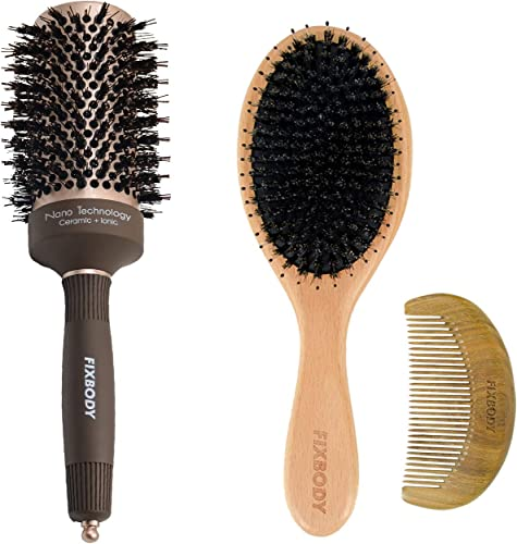 new arrival FIXBODY Boar Bristles Round Hair Brush, Nano Thermal Ceramic and online sale Ionic Tech for Blow Drying | FIXBODY Beech Wood Boar Bristle new arrival Hair Brush Set outlet online sale