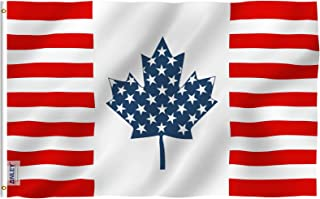 Anley Fly Breeze 3x5 Foot USA Canada Friendship Flag - Vivid Color and UV Fade Resistant - Canvas Header and Double Stitched - American Canadian Combination Flags Polyester with Brass Grommets
