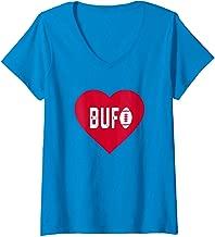 Womens Cute I Love Buffalo Football Heart BUF V-Neck T-Shirt