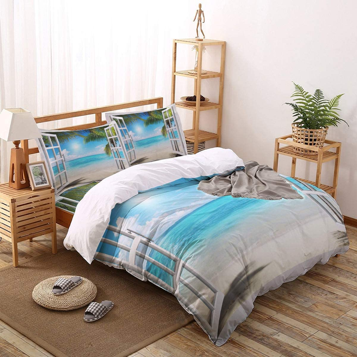 4 PCS Bedding Set Beach Sea Omaha Mall and Window Trees Ranking TOP9 Coconut The outside