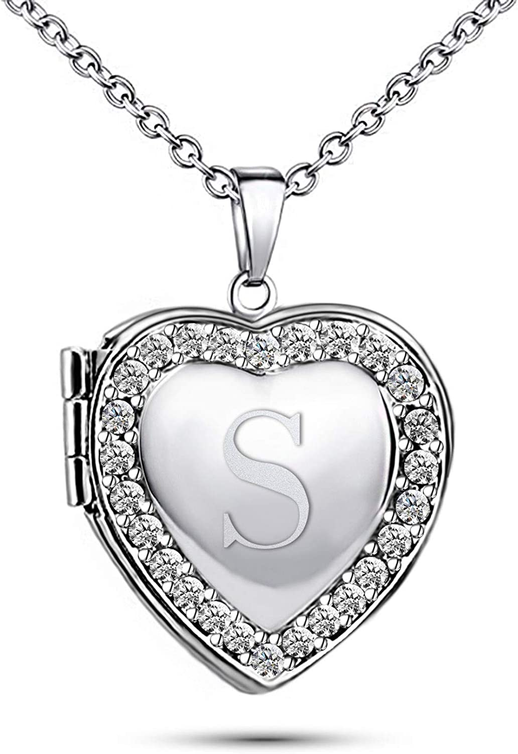 TCHYUN Locket Photo Sale Cheap Alphabet Initial Letter Necklace Pictures Collection Polished Choker Cute Simple Engraved Cursive Bracha Dainty Heart Love Pendant for Girls Womens Mom Men Birthday Gift