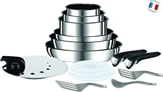 Tefal  - Set de 15 piezas, de aluminio con mango extraíble, sartenes de 22 y 26 cm, cazos de 16, 18 y 20 cm, 3 tapas , 1 tapas inox, 2 espátulas, 2 mangos intercambiables