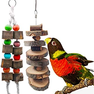 Hamiledyi Bird Wood Chew Toy,2-Pcs Parrot Hanging Wooden Blocks Cage Grinding Bead Toy for Budgies Parakeet Cockatiel Conu...