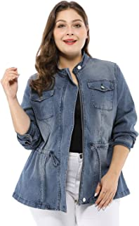 Women's Plus Size Stand Collar Zip Closure Drawstring Denim Jacket
