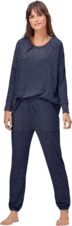 ellos Women's Plus Size Marled Knit Jogger Pants Pajama Bottoms