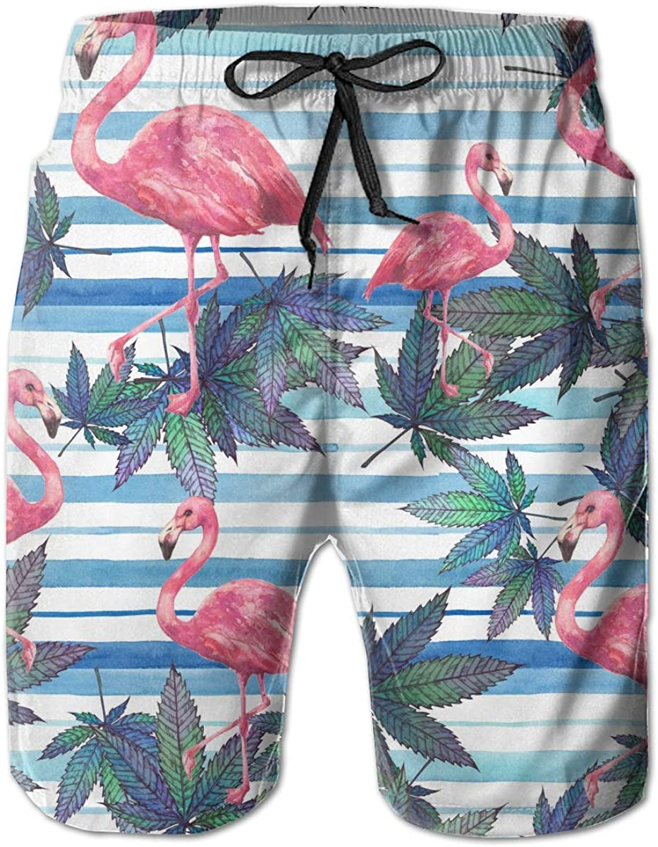 YongColer Men's Pink Flamingo Pattern Swim Trunks Beach Board Shorts with Pockets