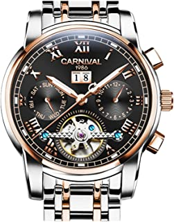 CARNIVAL Mens tourbillon Automatic Mechanical Watch Rose Gold and Silver Stainless Steel Black Watches