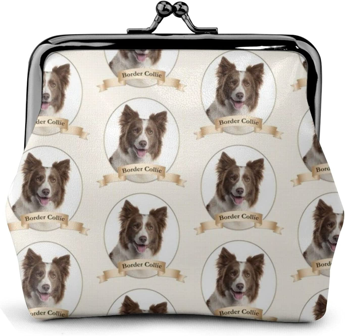 Chocolate Border Collie 1533 Coin Purse Retro Money Pouch with Kiss-lock Buckle Small Wallet for Women and Girls