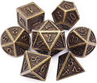 Haxtec D&D Metal Dice Set 7PCS DND Dice of D20 D12 D10 D8 D6 D4 for Dungeons and Dragons RPG Dice Games-Antique Bronze Dice