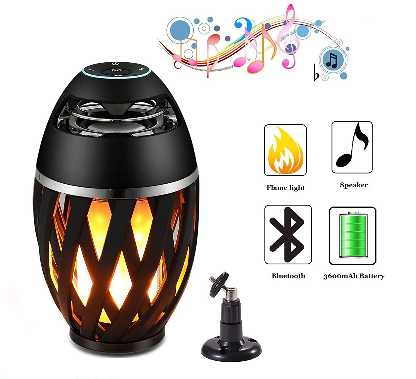 Legazone Flame Atmosphere Speakers, Table Lamp Bluetooth Night Light Outdoor/Indoor Portable Stereo Bluetooth Speaker,96 LED Beads,Dancing Flicker Flame Camping Lamp Portable Wireless Speaker
