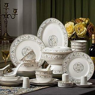 YANJ Ensemble de Vaisselle en céramique avec 50 pièces, Bol/marmite/Plat/cuillère | Ensembles de Vaisselle en Porcelaine ...