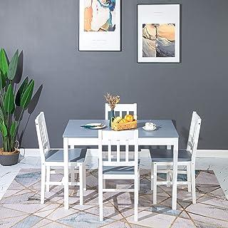 H.J WeDoo Ensemble deTable de Salle à Manger en Pin avec 4 Chaises, pour la Salle à Manger, La Cuisine, Salon (Gris&Blanche)