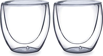 Mimo Style Par de Copos Para Café Parede Dupla Sem Alça, Material Vidro Borossilicato de Ótima Qualidade, Capacidade de 80...