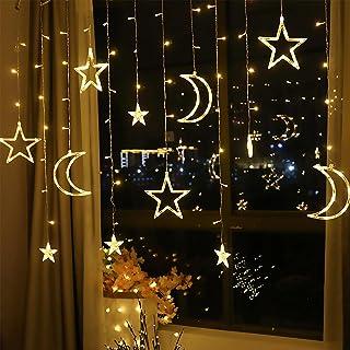 Étoiles Lune Rideau Lumières, décoration ramadan 3,5 m, lumières de rideau étoile lune, guirlande LED, lumières décorative...
