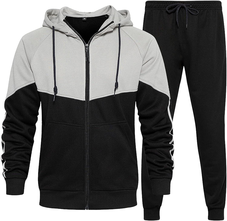 Mens Sweatsuits 2 Piece with Hoodie Full Zip Jogging Set Long Sleeve Sweashirt & Sweatpants Tracksuit for Men