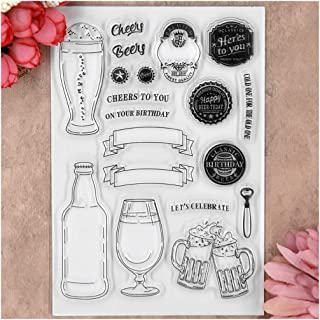 Kwan Crafts Cheers Let's Celebrate Clear Stamps for Card Making Decoration and DIY Scrapbooking