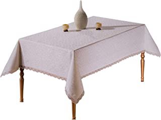BBT Turkish Polyester Tablecloth Table Cover - Stain Resistant Wrinkle Free Non-Iron – Great for Parties, Holiday, Dinner, Wedding, Christmas, New Year & More (Rectangular 60