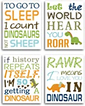 """HPNIUB Watercolor Inspirational Lettering Quote Art Prints Set of 4 (8""""X10"""" Wildlife Animal Dinosaur Typography Canvas Poster for Kids Baby Bedroom Or Classroom Decor, No Frame"""