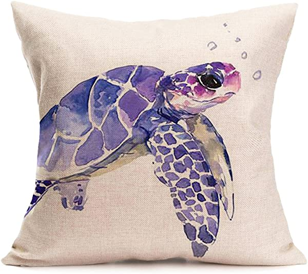 Qinqingo Watercolor Animal Print Cotton Linen Square Decorative Throw Pillow Case Cushion Cover 18inches Sea Turtle