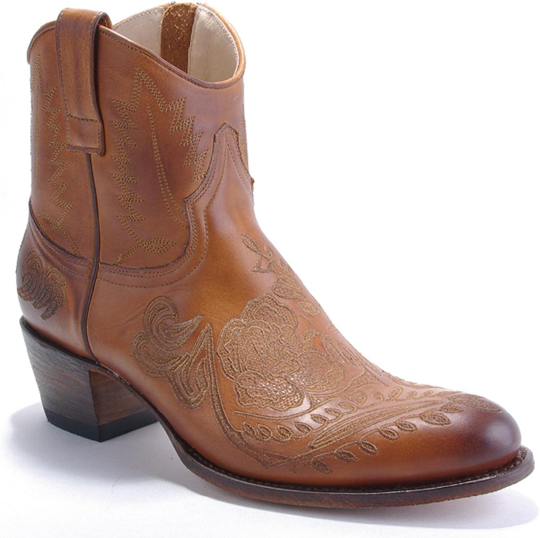 Damen Damen Cowboy Stiefel Kurzstiefel Sendra braun Bestickt - individuell und ausgefallen  ehrlicher Service