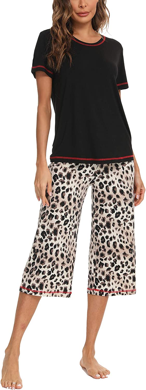 Hefunige Womens Sleepwear Modal Top with Pants Pajama Sets S-4XL