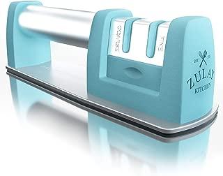Aqua Blue Best Knife Sharpener for Straight and Serrated Knives - Kitchen Knife Sharpener for All Blade Types & Scissors - Stainless Steel and Tungsten Knife Sharpeners Best Quality - by Zulay Kitchen