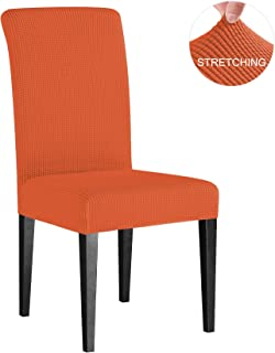 Subrtex Dining Room Chair Slipcovers Sets Stretch Furniture Protector Covers for Armchair Removable Washable Elastic Parsons Seat Case for Restaurant Hotel Ceremony(4 Pieces, Orange Checks)