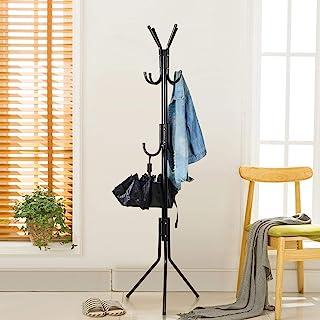 Lukzer 6 Hook Coat Hanger/Clothes Hanger Stand/ 6 Hook Hanging Pole Rack Clothes Hanger Coat Stand Storage Black
