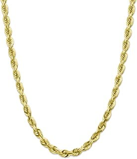 Diamond2Deal Men's 10k Yellow Gold 7mm Diamond-Cut Rope Chain Necklace Lobster Clasp
