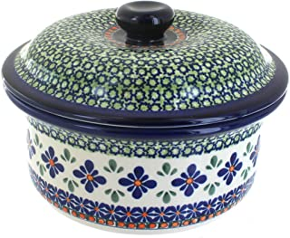 Polish Stonewear Round Covered Casserole - Baker with Lid, Hand-made Polish Pottery From Boleslawiec